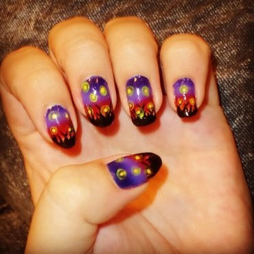 Fireflies at sunset, recreated from @chalkboardnails on IG nail art by Amarins