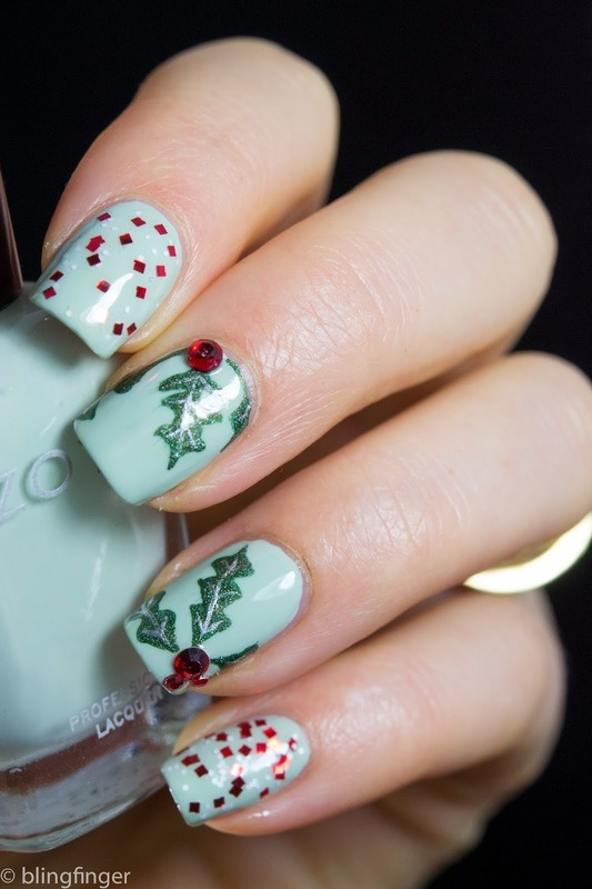 Christmas Holly nail art by  Petra  - Blingfinger