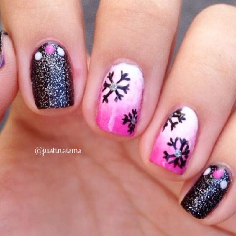 Pink and Black Holiday nail art by ℐustine