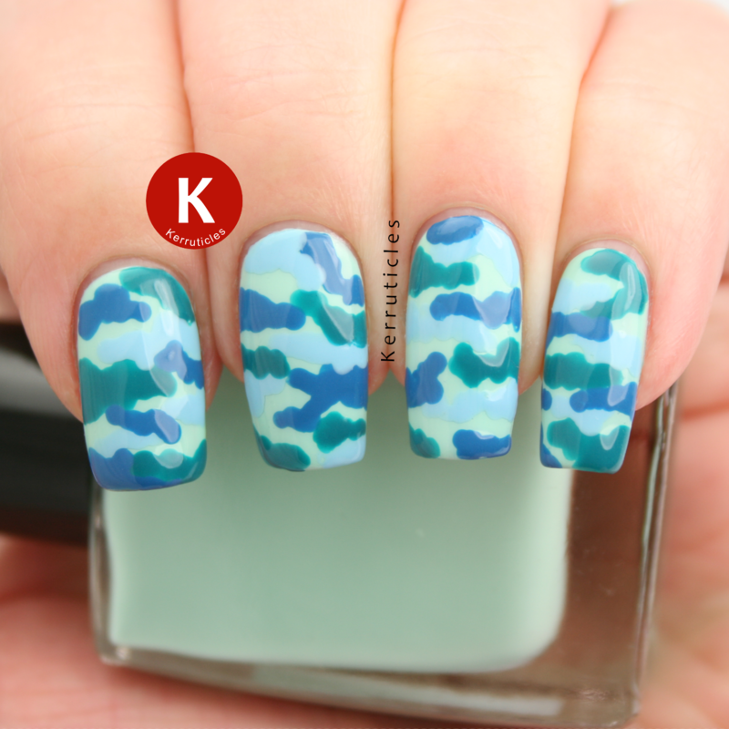 Blue and green camouflage nail art by Claire Kerr