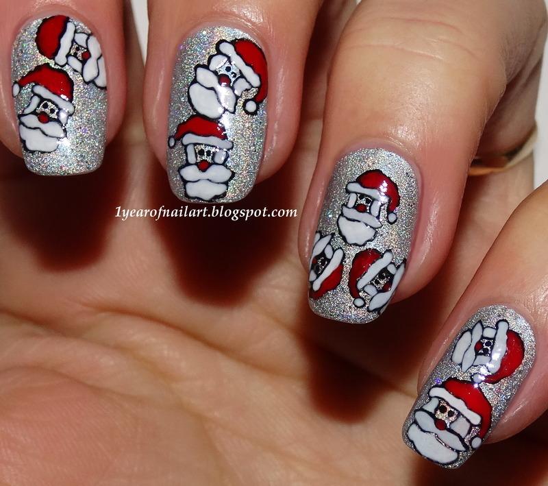 Santa nails nail art by Margriet Sijperda