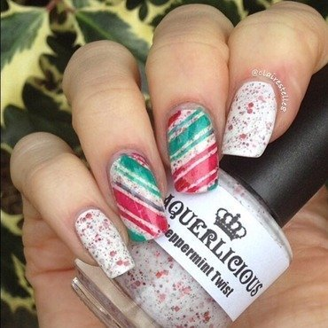 Peppermint Twist candy canes nail art by Claire O'Sullivan