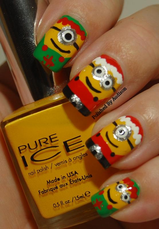 Christmas Santa and Elves Minion Nail Art nail art by Ashley Hoopes