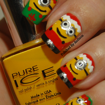 Christmas Santa and Elves Minion Nail Art nail art by Ashley Hoopes