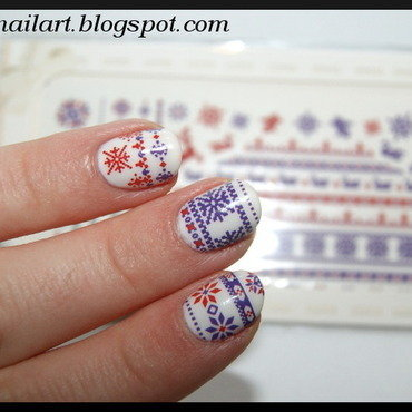 Norwegian pattern nail art by RedRouge