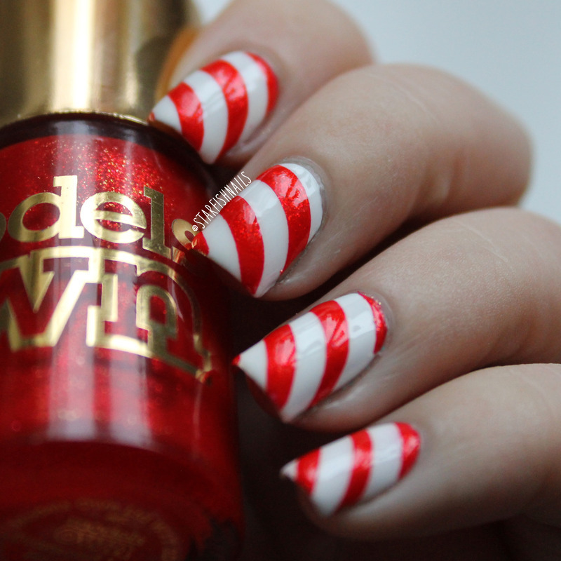 Candy Cane nail art by Lisa Yabsley