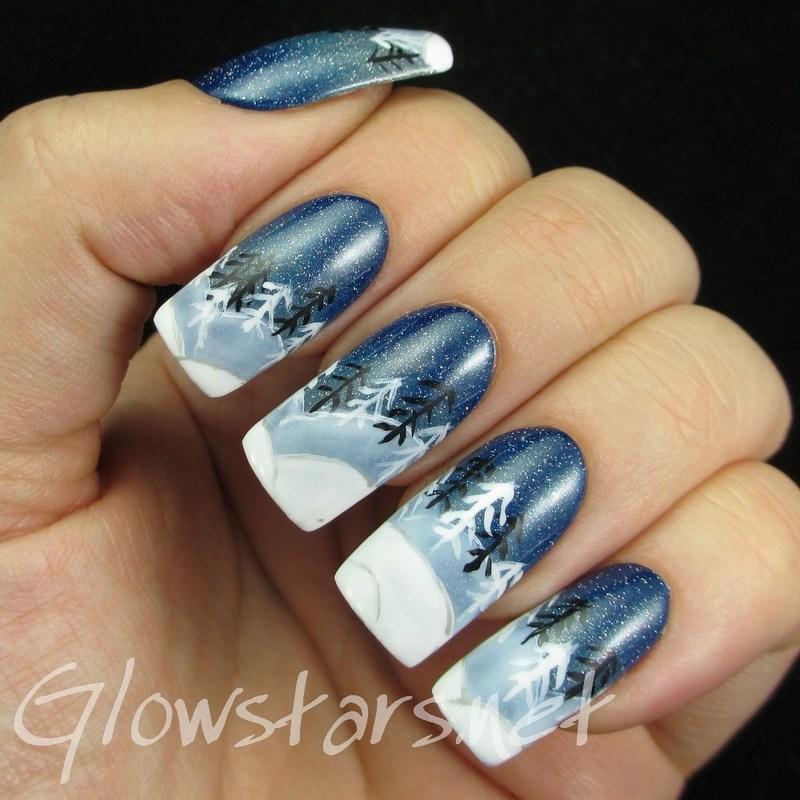 The Digit-al Dozen does winter wonderland: winter silhouette nail art by Vic 'Glowstars' Pires