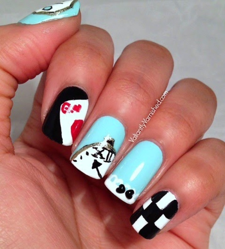 Alice in Wonderland Nail Art nail art by Valiantly Varnished