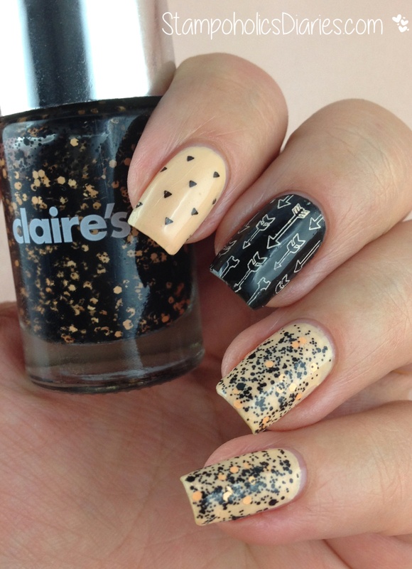 """Angelica """"Milk Caramel"""", Claire's """"Boo"""" & Stamping  nail art by Natasha"""