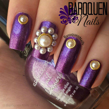 Pearls And Purple nail art by BaroquenNails