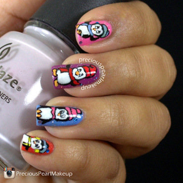 Penguins nail art by Pearl P.
