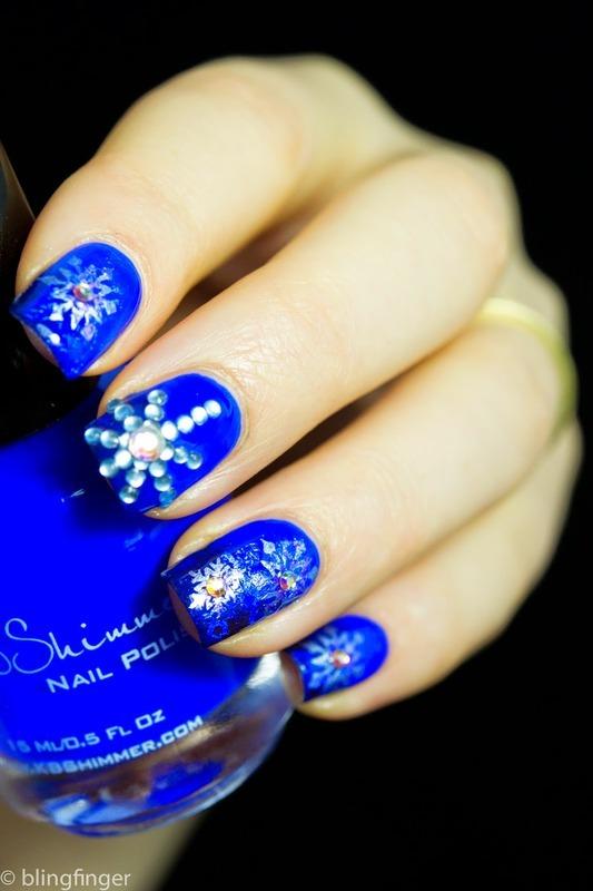Crystal Snowflake nail art by  Petra  - Blingfinger