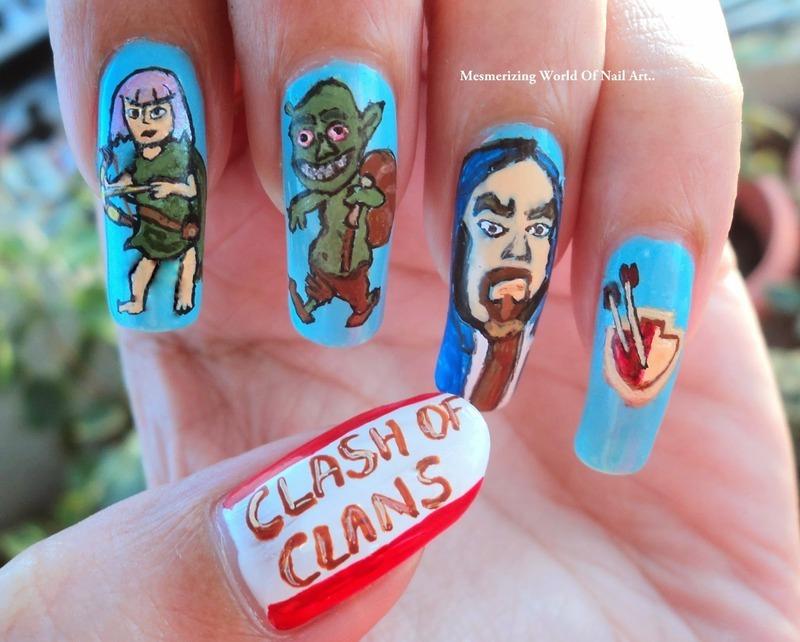 Clash of Clans Nail Art nail art by Anubhooti Khanna