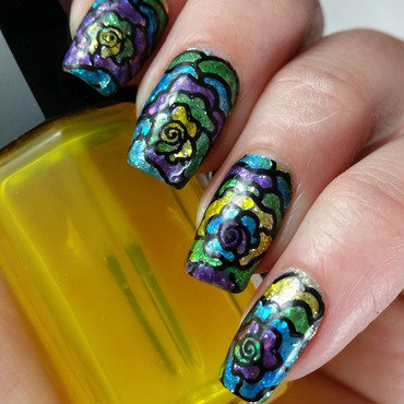 Stained Glass Jelly Glitter nail art by Serra Clark