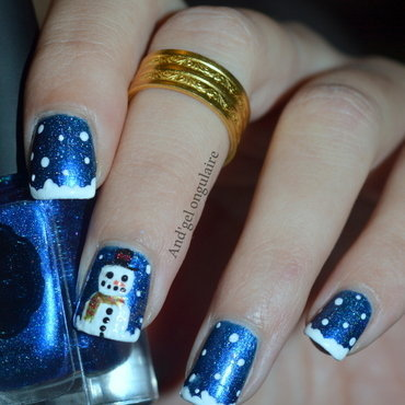 Crush on blue & bonhomme de neige ⛄  nail art by And'gel ongulaire