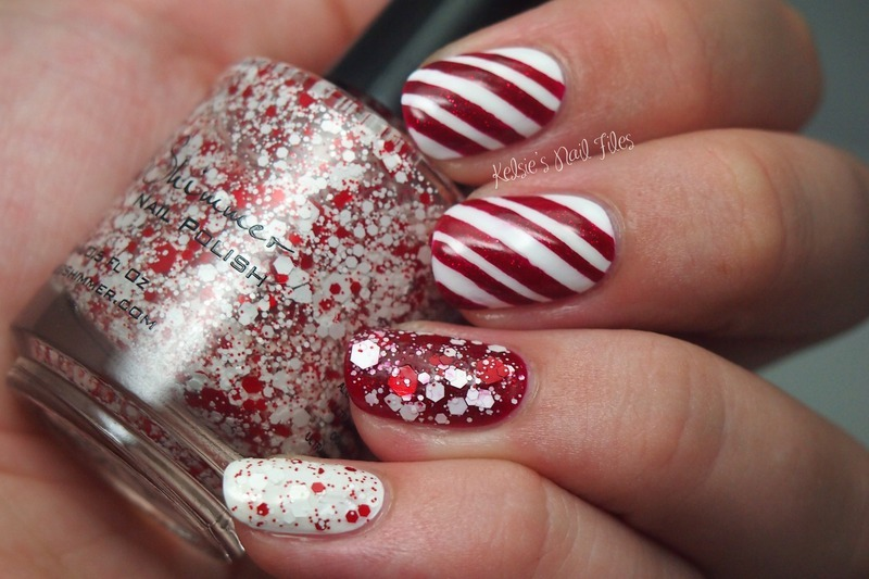 Candy Cane Crush nail art by Kelsie