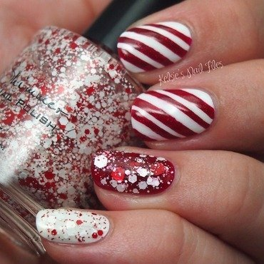 Candy Cane Crush nail art by Kelsie