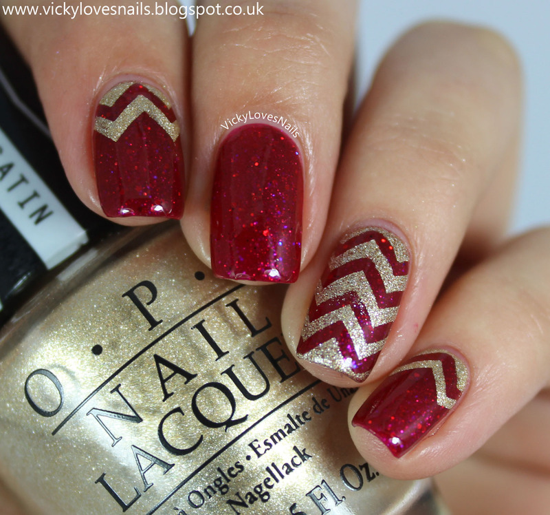Red and Gold Chevrons nail art by Vicky Standage