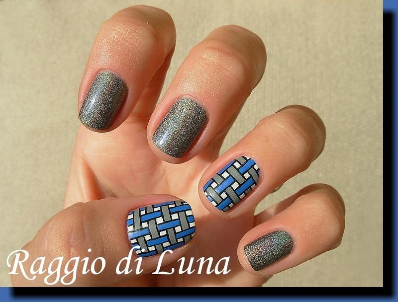 Intersections: blue & grey nail art by Tanja