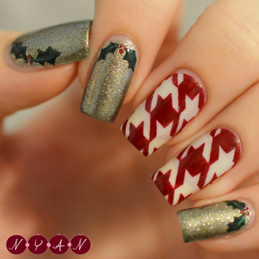 Holiday Houndstooth nail art by Becca (nyanails)