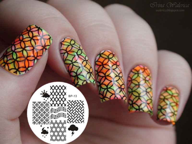 Amazing Rainbow Colored Circle Stamping Nails nail art by Born Pretty