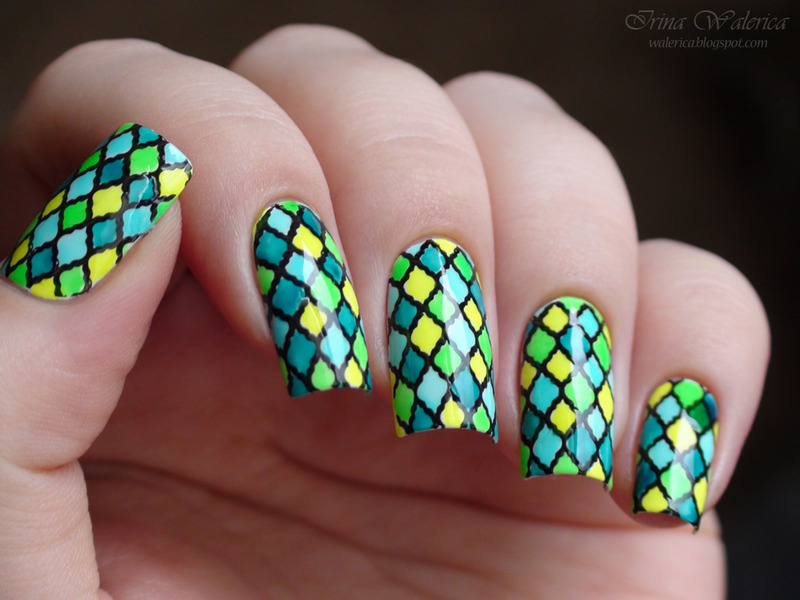 Stunning Colored Plaid Stamping Nails nail art by Born Pretty