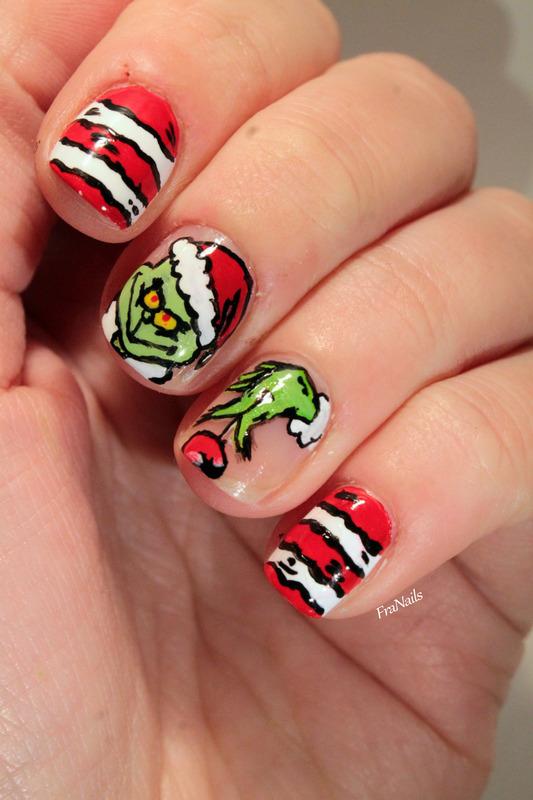 The Grinch nail art by Fran Nails