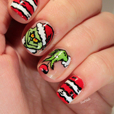 The Grinch nail art by Fran Nails