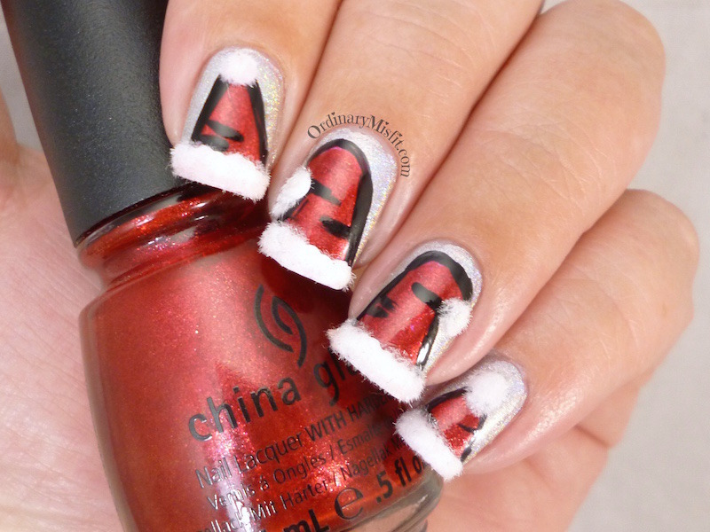 Santa Hats nail art by Michelle