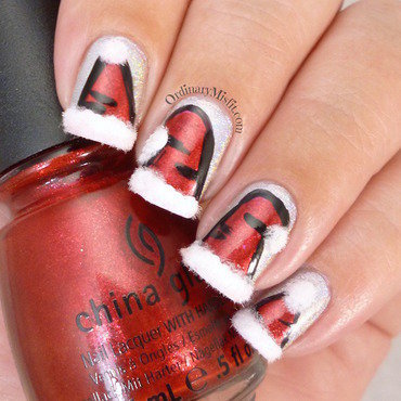 Santa Hats nail art by Michelle