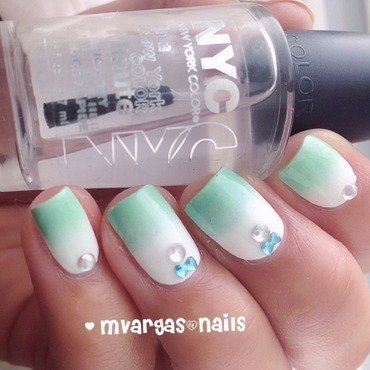 Minty gradient  nail art by Massiel Pena