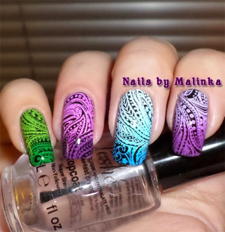 Fancy Gradient Starfish Stamping Nails nail art by Born Pretty