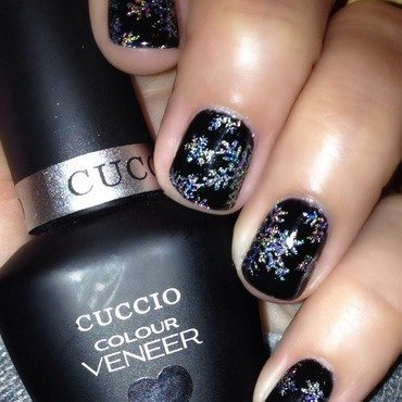 Color Club Harp on it, Cuccio Veneer 2am in Hollywood, and LeChat Hologram Diamond Swatch by Angela Zeleny