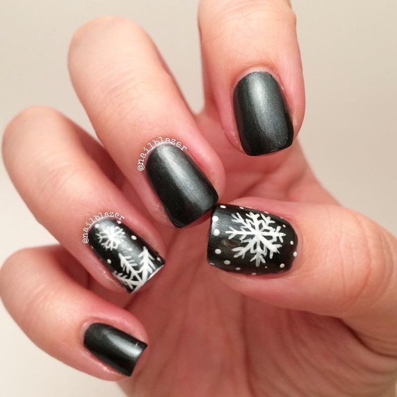 Tuxedo Snowflakes nail art by Nailblazer
