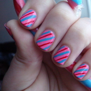 Tutti Frutti Candy Cane Stripes nail art by Elin The Cupcake Cat