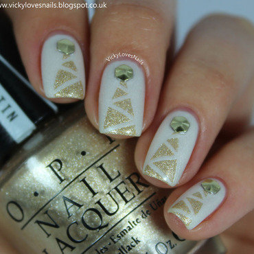 Gold Christmas Trees nail art by Vicky Standage