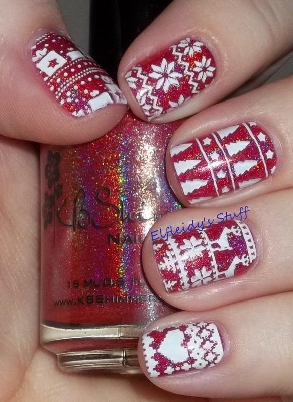"""Ugly"" sweater nails! nail art by Jenette Maitland-Tomblin"