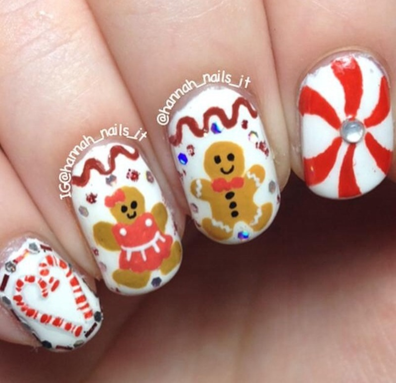 Gingerbread Couple nail art by Hannah