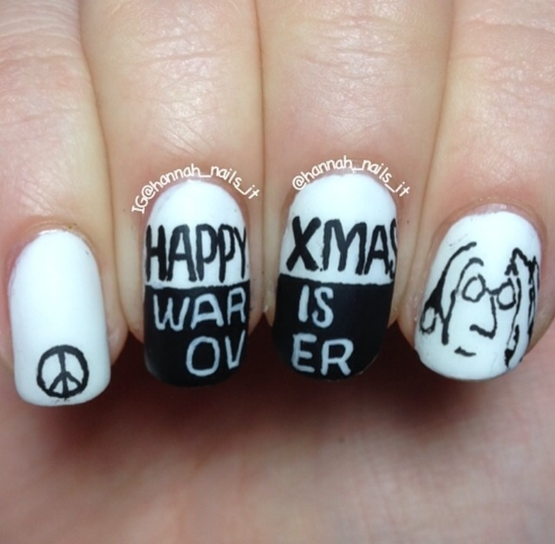 Happy Christmas, War is Over nail art by Hannah