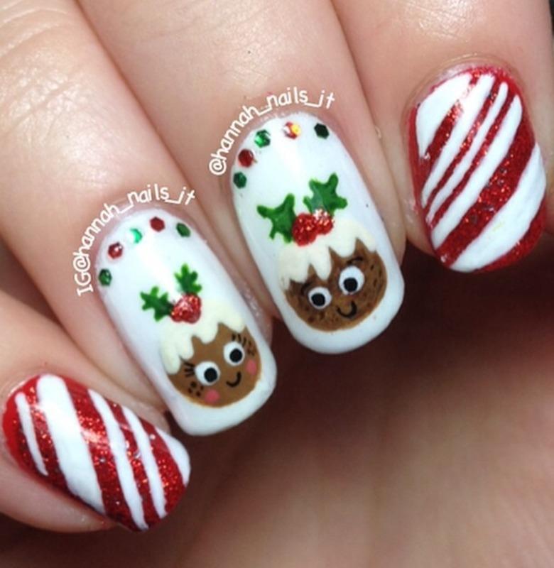 Cutie Christmas Puddings nail art by Hannah