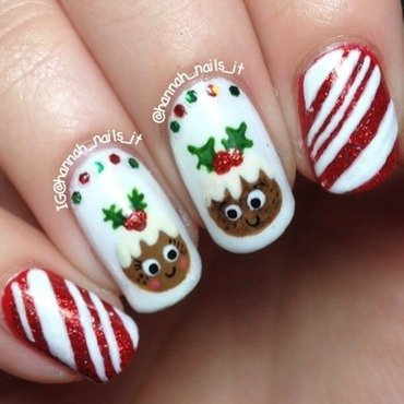 Cutie Christmas Puddings nail art by Hannah