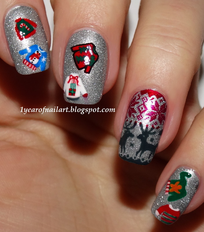Ugly Christmas sweater nail art nail art by Margriet Sijperda