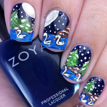 Seven Swans a Swimming  nail art by Rose Mercedes