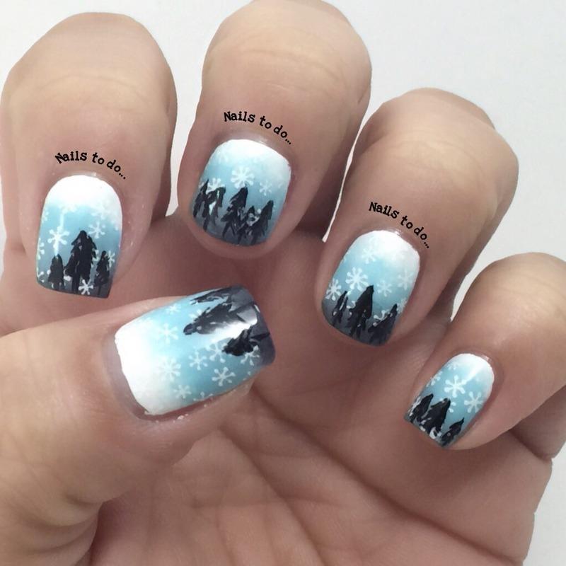 Winter wonderland nail art by Jenny Hernandez