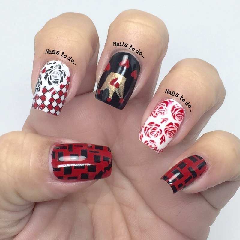 Queen of hearts nail art by Jenny Hernandez