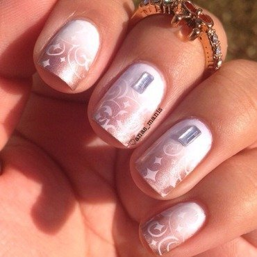 Delicate stamping over a gradient nail art by anas_manis