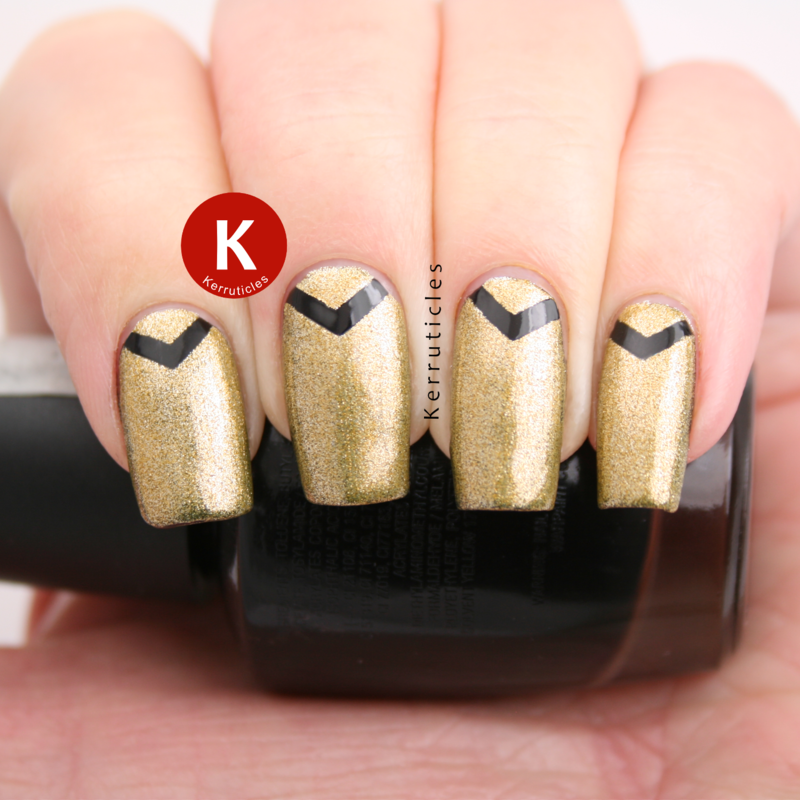 Gold with black chevrons nail art by Claire Kerr