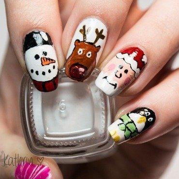 Santa and his Friends nail art by Kathrin