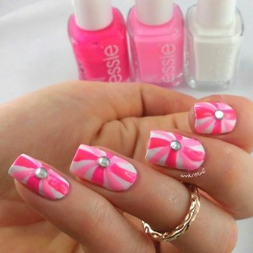 Neon Candy Cane nail art by Ann-Kristin