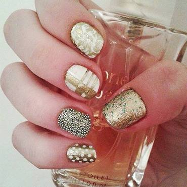 Christmas in gold  nail art by Neve212